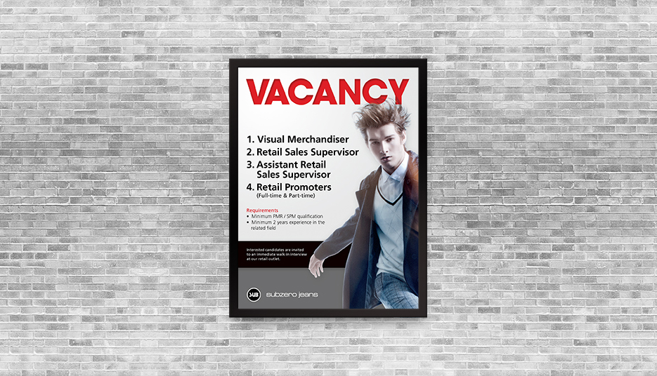 sub vacancy poster
